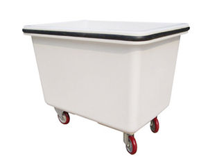 White Color Heavy Duty Laundry Trolley Cube Shaped Design With Four Fixed Wheels